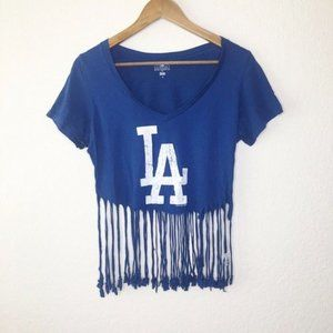 MLB LA Dodgers Crop Top Fringe Blue M Campus Tee